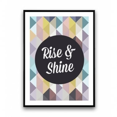 Geometric Rise and Shine Framed Print - A2 or A3