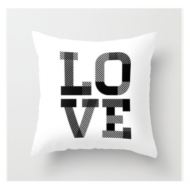 Scandinavian Love Cushion - White