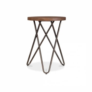 Hairpin Stool with Crossed Leg - Rustic 45cm