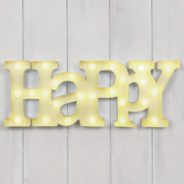 "Metal L.E.D 18"" HAPPY Light up Sign - Lemon"