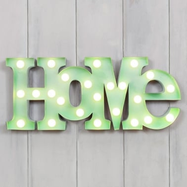 Metal L.E.D Circus Lights HOME - Green