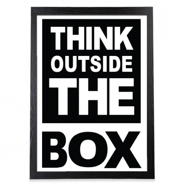 Outside The Box Typography Poster - Black Frame
