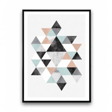Geometric Graphic Triangle Art Framed Print - A2 or A3