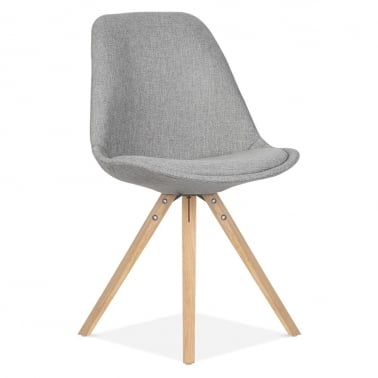 Upholstered Dining Chair With Pyramid Style Solid Oak Wood Legs - Cool Grey