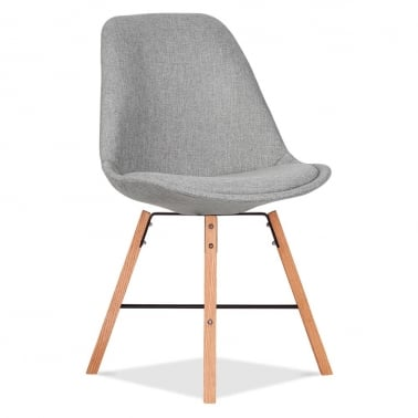 Soft Pad Upholstered Dining Chair With Cross Brace Legs - Cool Grey