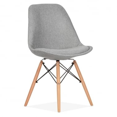 Upholstered Dining Chair with DSW Style Natural Wood Legs - Cool Grey