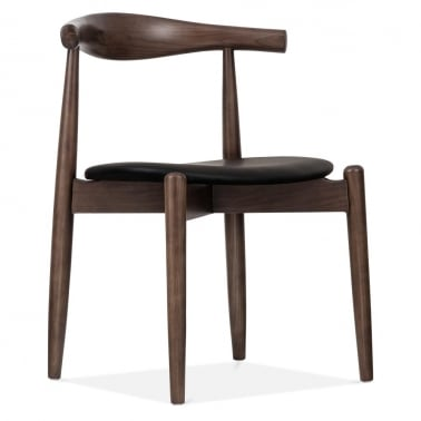 Dark Brown Elbow Chair with Round Seat