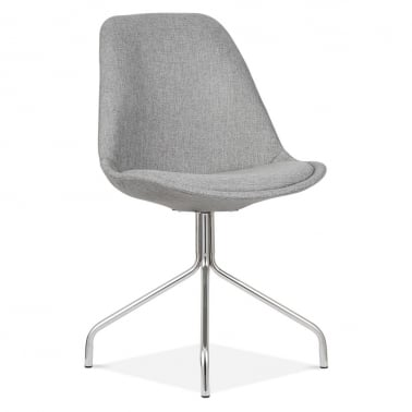 Upholstered Dining Chair With Metal Cross Legs - Cool Grey