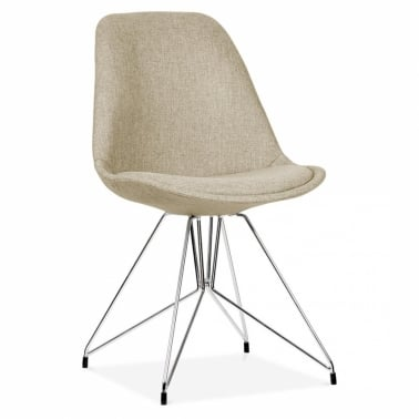 Beige Upholstered Dining Chair with Geometric Metal Legs