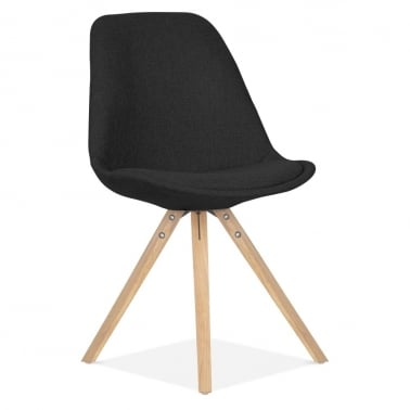 Black Upholstered Dining Chair With Pyramid Style Solid Oak Wood Legs