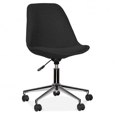 Black Upholstered Office Chair With Soft Pad Seat