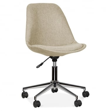 Beige Upholstered Office Chair With Soft Pad Seat
