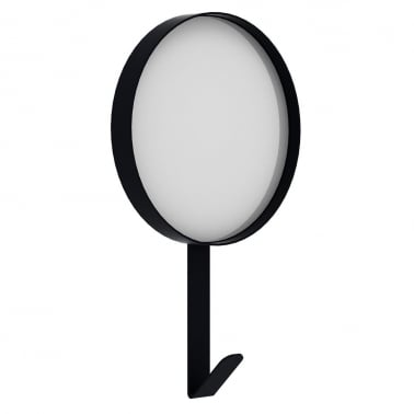Metal Wall Mirror with Hook, Black