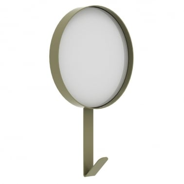Metal Wall Mirror with Hook - Olive