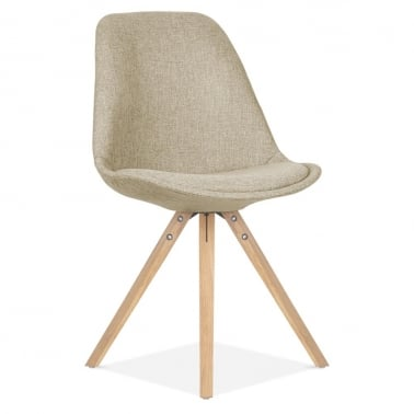 Beige Upholstered Dining Chair With Pyramid Style Solid Oak Wood Legs