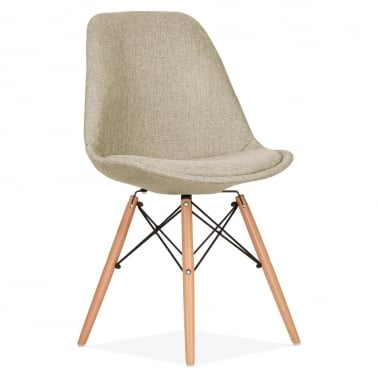 Beige Upholstered Dining Chair with DSW Style Natural Wood Legs