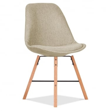 Soft Pad Upholstered Dining Chair With Cross Brace Legs - Beige