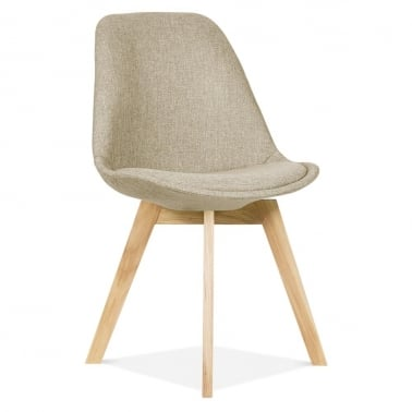 Beige Upholstered Dining Chair With Solid Oak Crossed Wood Leg Base