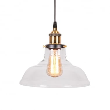 Factory Glass Bowl Pendant Light - Copper / Clear