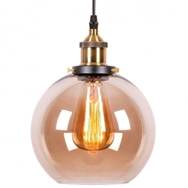 Factory Glass Large Sphere Pendant Light - Antique Gold / Coffee