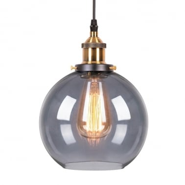 Factory Glass Sphere Pendant Light - Copper / Black