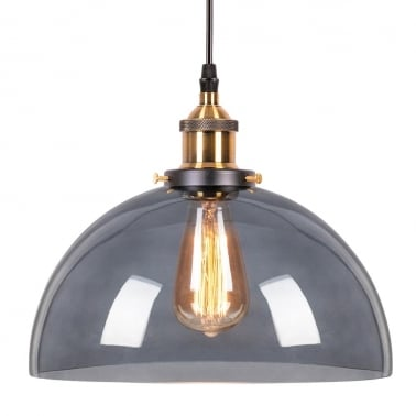 Factory Glass Semi-Sphere Pendant Light - Copper / Black