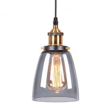Factory Glass Beaker Pendant Light - Antique Gold / Black