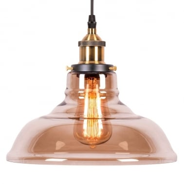 Factory Glass Bowl Pendant Light - Copper / Coffee