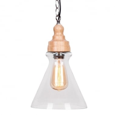 Factory Glass Cone Pendant Light - Wood / Clear