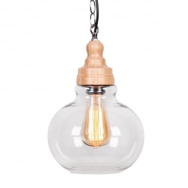 Factory Glass Sphere Pendant Light - Wood / Clear
