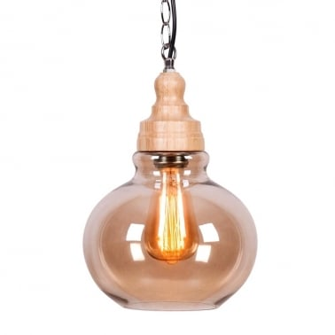 Factory Glass Sphere Pendant Light - Wood / Coffee