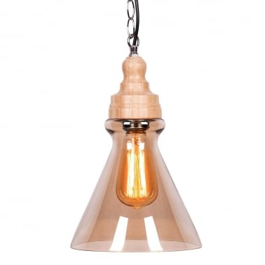 Factory Glass Cone Pendant Light - Wood / Coffee