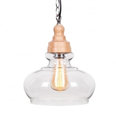 Factory Glass Bowl Pendant Light - Wood / Clear