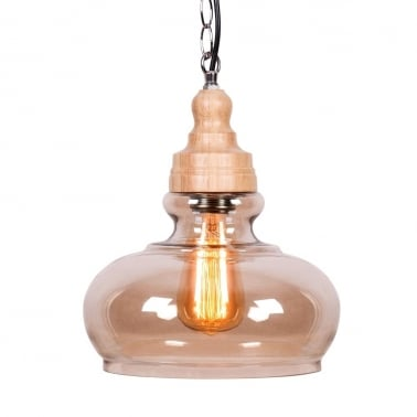 Factory Glass Bowl Pendant Light - Wood / Coffee