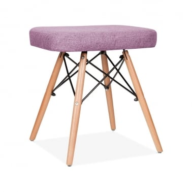 Upholstered Stool With DSW Style Legs - Purple