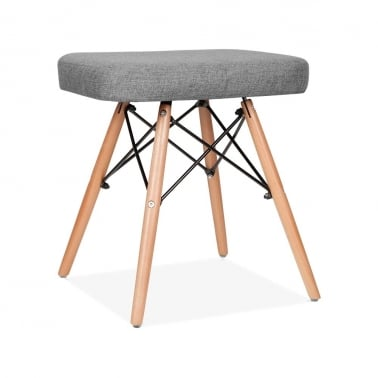Upholstered Stool With DSW Style Legs - Cool Grey