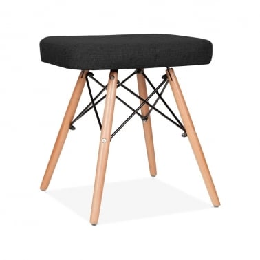 Upholstered Stool With DSW Style Legs - Black