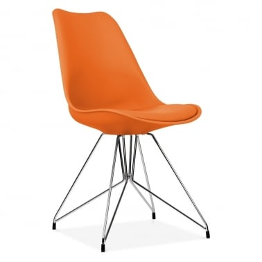 Orange Dining Chair with Geometric Metal Legs