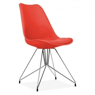 Red Dining Chair with Geometric Metal Legs
