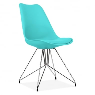 Turquoise Dining Chair with Geometric Metal Legs