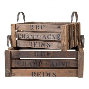 Vintage Style Champagne Crates - Two