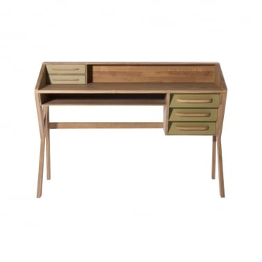 Origami Desk 5 Drawers - Olive