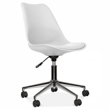 White Office Chair With Soft Pad Seat