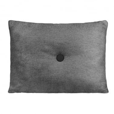 Poet Cushion With Single Button - Grey and Black with Black Button