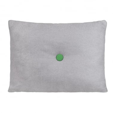 Poet Cushion With Single Button - Grey with Green Button