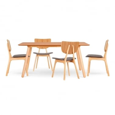 Poppy Natural Wood Dining Set - 1 Table & 4 Chairs - Cool Grey