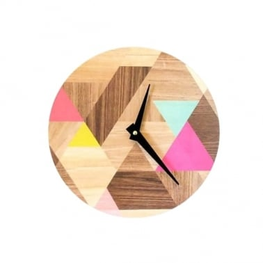 Geometric Wood Effect Vinyl Clock