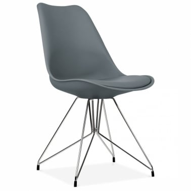 Dining Chair with Geometric Metal Legs - Grey