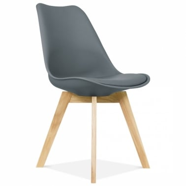 Dining Chairs With Solid Oak Crossed Wood Leg Base - Grey