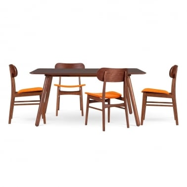 Modernist Dining Set - 1 Table & 4 Chairs - Orange